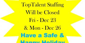 TopTalent will Be Closed for Holiday